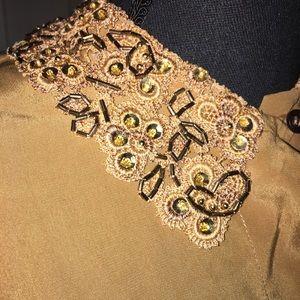 Vintage Escada Silk Blouse w/Beaded Collar & Cuffs